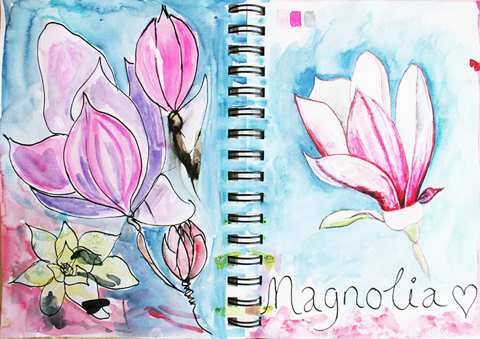 Magnolia Sketchbook page #sketchbooksunday {video}