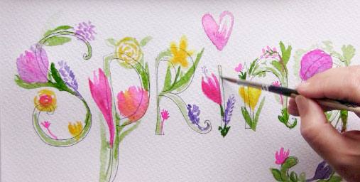 painting spring with watercolors