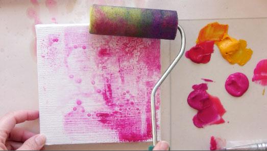 paint roller backgrounds for mixed media mandalas online class
