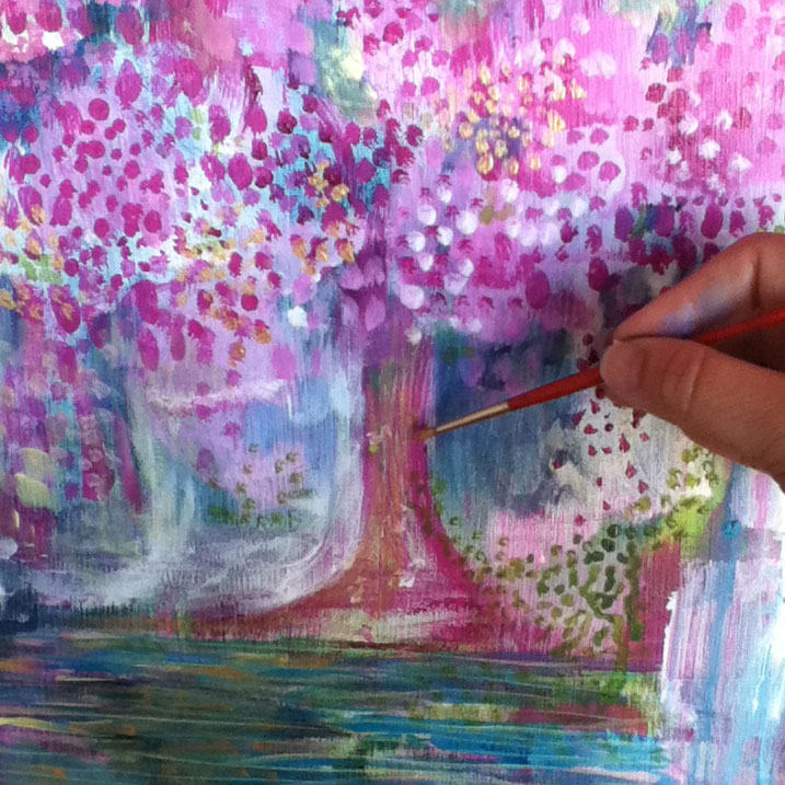 Blossom tree in progress copyright Louise Gale