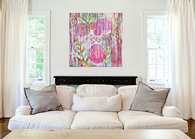 Pink Peony painting in a lounge setting by Louise Gale