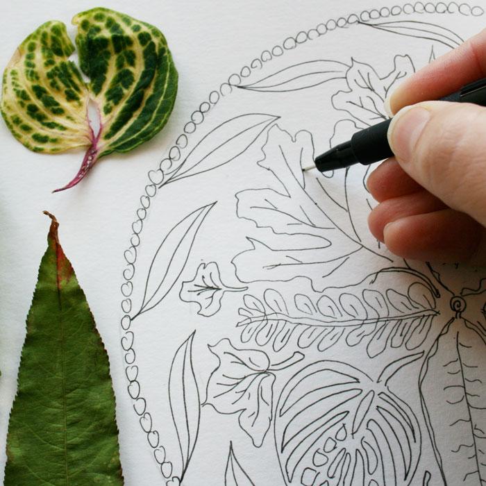 leafy mandala design Lousie Gale