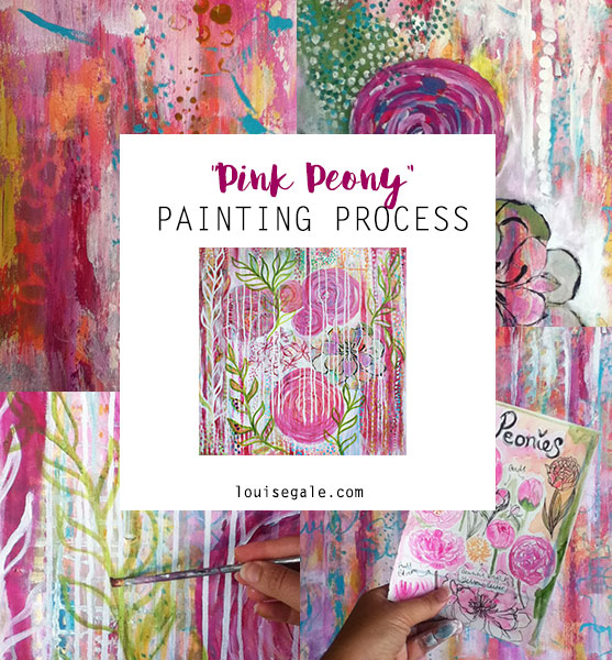 pink peony painting process