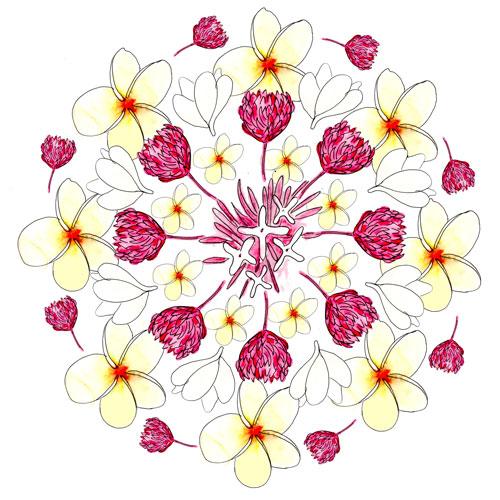 Bali Inspired Botanical Mandala by Louise Gale