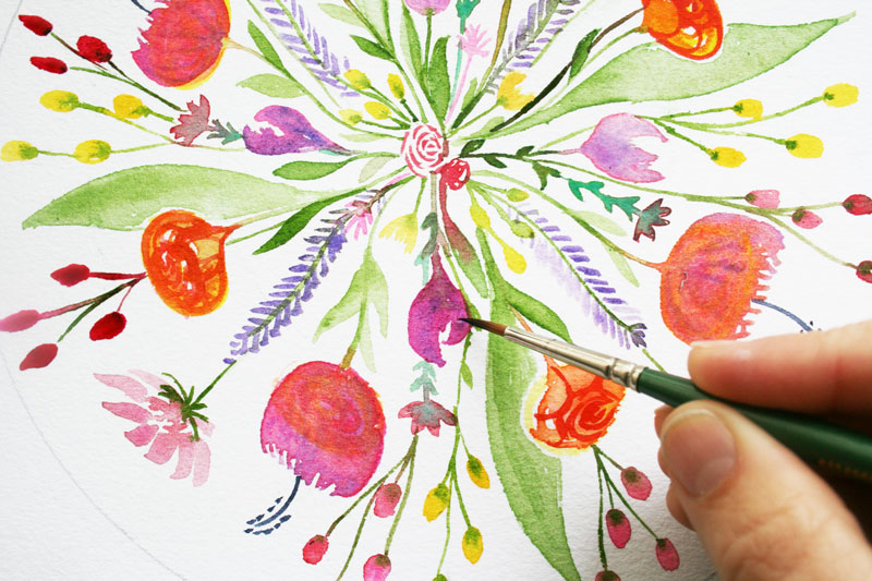 Spring Bouquet Botanical Mandala in progress Louise Gale