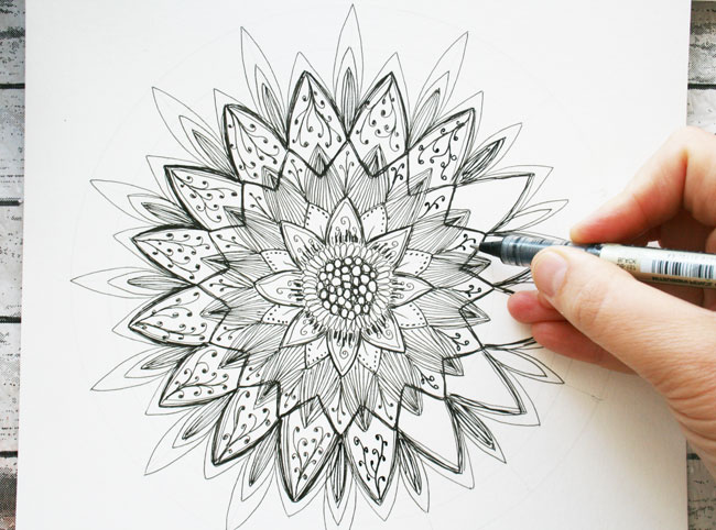 Dahlia Botanical Mandala work in progress by Louise Gale