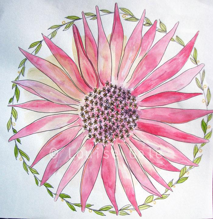 Daisy Botanical Mandala by Louise Gale