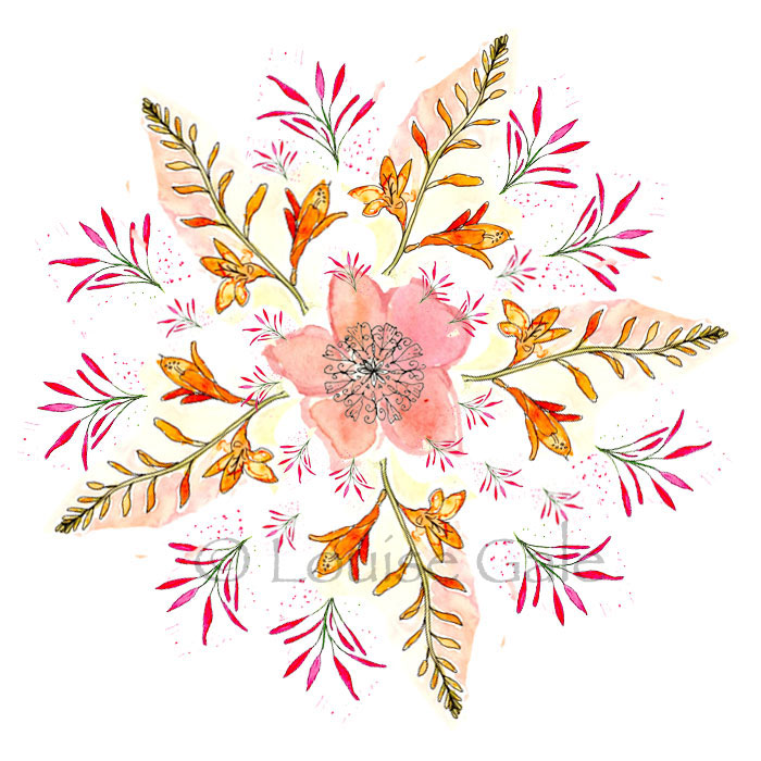 Spring Flowers Botanical Mandala by Louise Gale