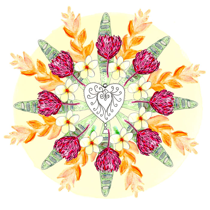 Bali Inspired Botanical Mandala by Louise Gale
