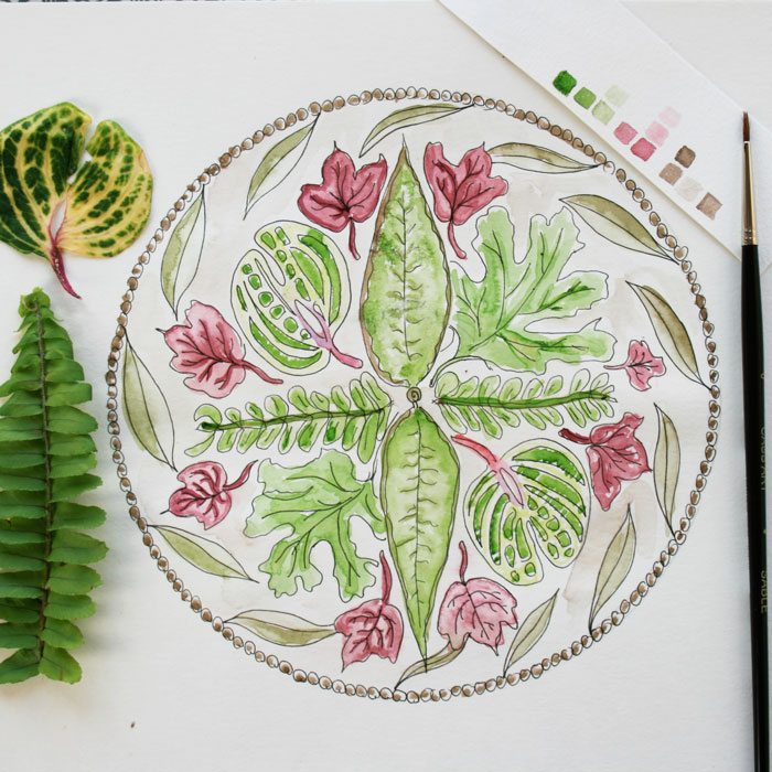 Leafy Botanical Mandala by Louise Gale