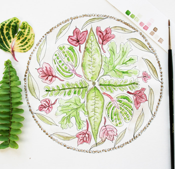 leafy mandala by Louise Gale