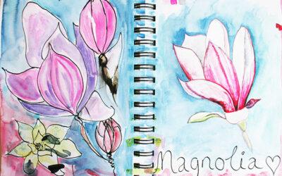 Magnolia Sketchbook page #sketchbooksunday {video}
