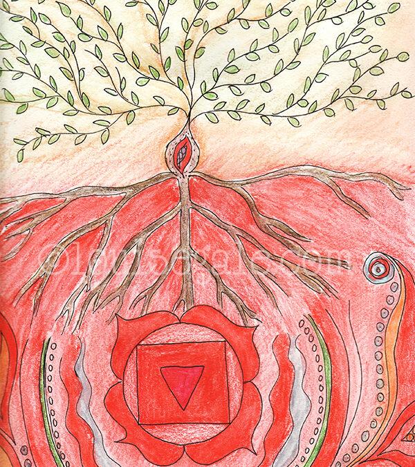 Red and base chakra energy drawing {chakra series}